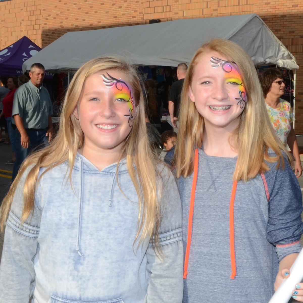 Festival Goers with Faces Painted